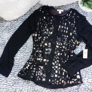 Coldwater Creek Baroque Shimmer Blouse XL